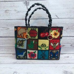 70s Handmade Plastic Canvas Cross Stitch Tote Bag